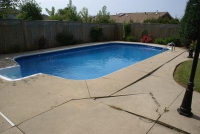 Cracked concrete poolside
