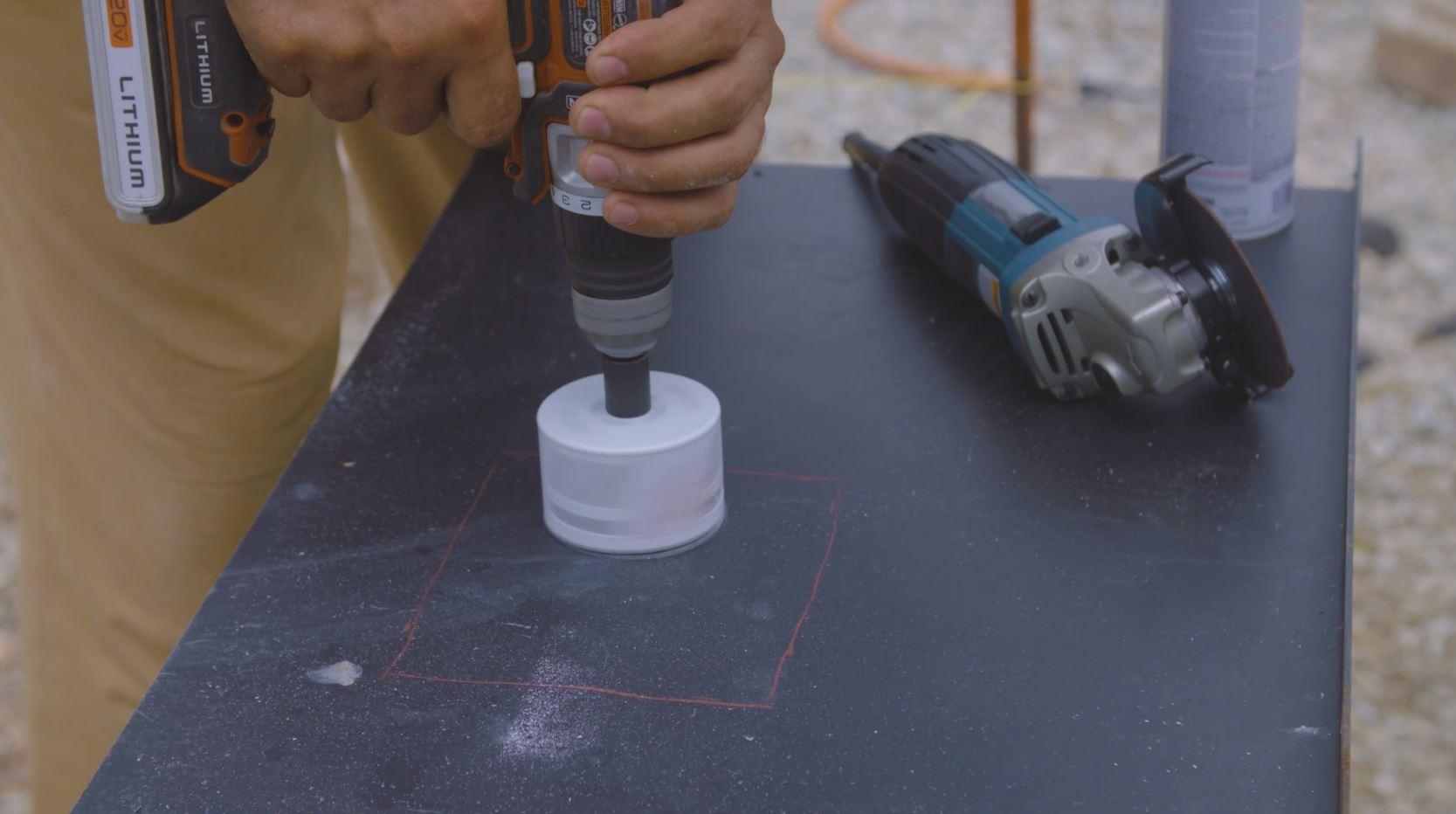 using hole saw